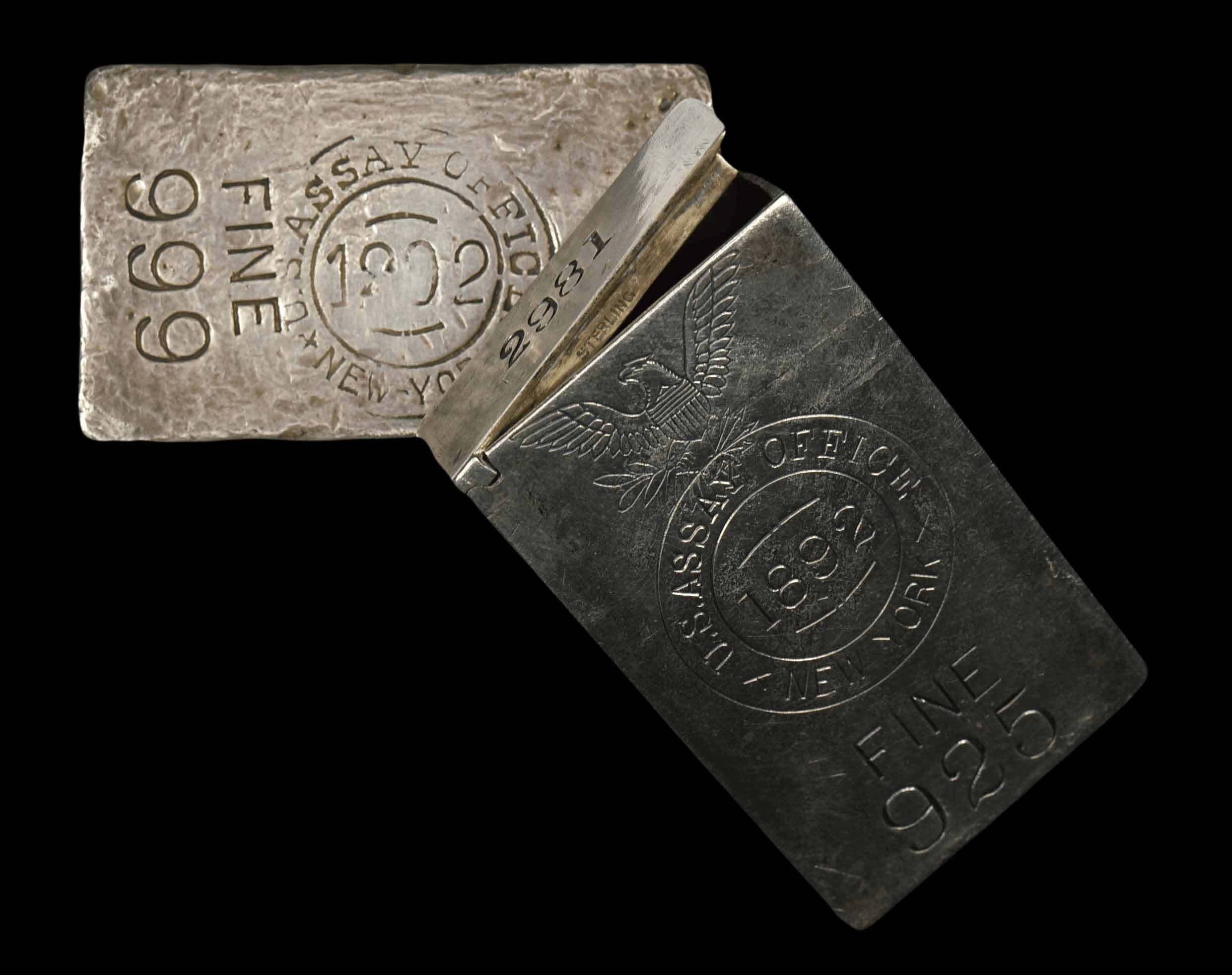 1892 New York Assay Office Silver Ingot & Antique Match Safe