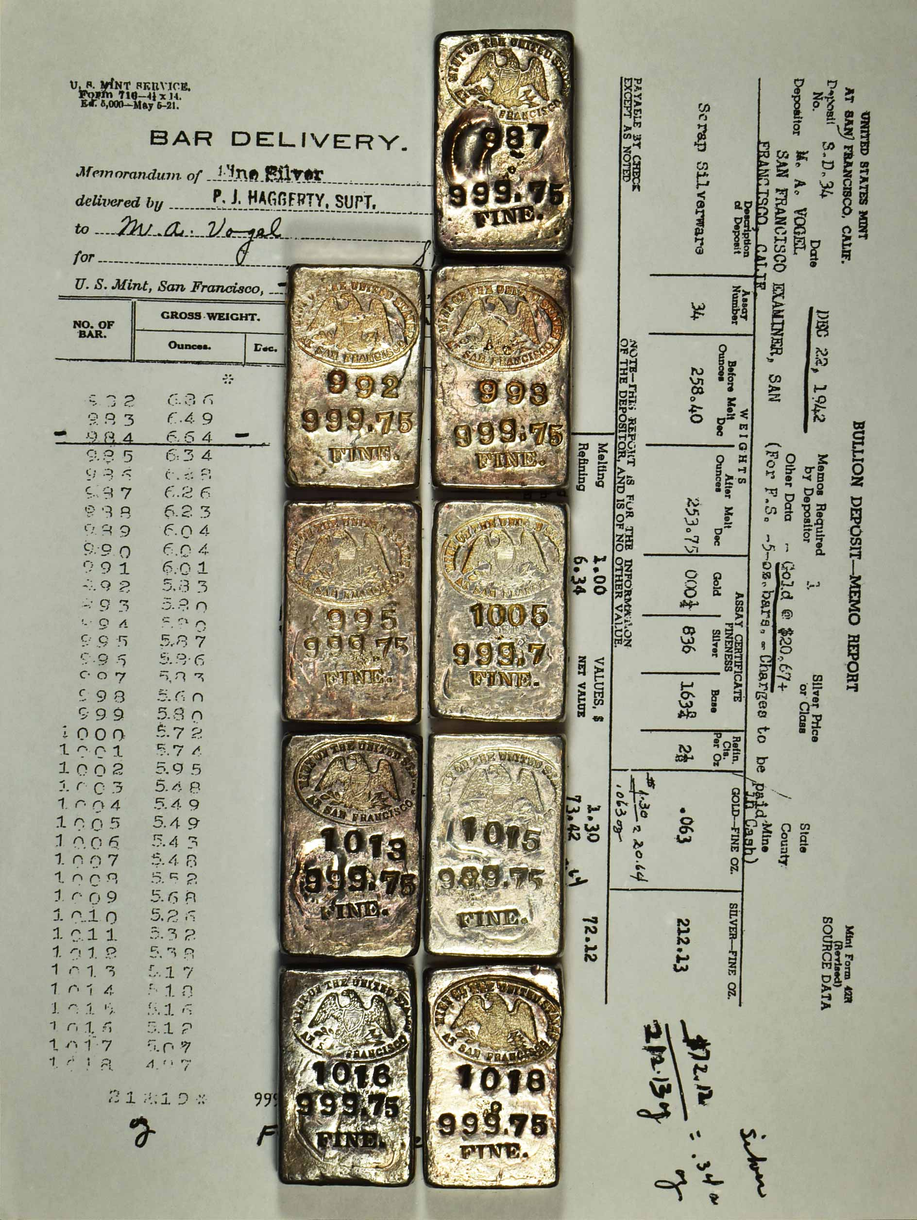 1942 Receipt With Ingots